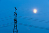 Power pole with moon, Wolmirstedt substation, Saxony-Anhalt, Germany