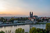 Magdeburg Cathedral at sunset, Magdeburg, Saxony-Anhalt, Germany