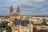 Magdeburg Cathedral, right Domplatz with Norddeutscher Landesbank, Magdeburg, Saxony-Anhalt, Germany