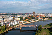 Historic Hubbbrücke, Elbe promenade with cathedral, Magdeburg, Saxony-Anhalt, Germany