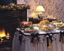 Christmas Table Setting By a Fireplace