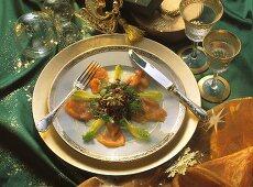 Sea Trout Salad; Christmas Table Setting