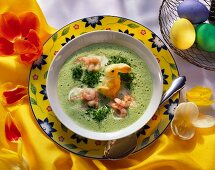 Cress Foam Soup with Shrimp and Pastry Bunny