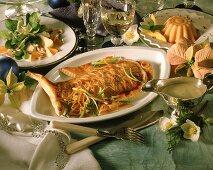 Christmas menu: corn salad, Nile perch & mango jelly