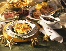 Christmas menu: spinach, roast wild boar and tiramisu
