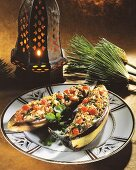 Stuffed baked aubergines from Egypt