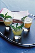 Cocktails with mint and ginger