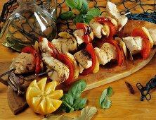Barbecued fish kebabs