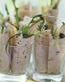 Wraps with spicy chicken salad filling