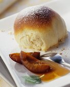 Yeast roll with damsons