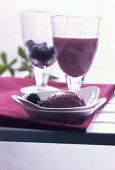 Blackberry ice cream and blackberry shake