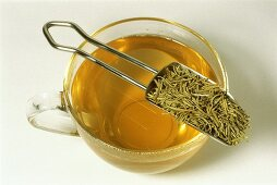 Rosemary tea and dried herb (Rosmarinus officinalis)