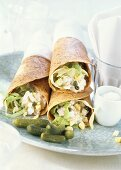 Wraps with cottage cheese and tuna filling