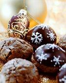 Chocolate marzipan biscuits with Amarena cherries