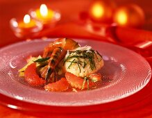 Jumbo prawns with quark dumplings as festive appetiser