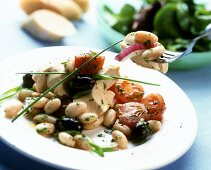 Bean and chicken salad with tomatoes