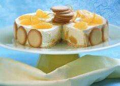 Orange ice cream cake, a piece cut