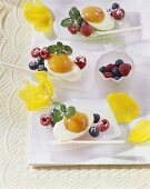 Egg-shaped cream and marzipan blancmange with apricot