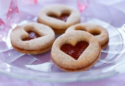 Almond and nut biscuits with jam filling