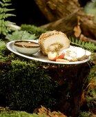 Roast pork roll with apple stuffing