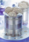 Almond biscuits in metal box