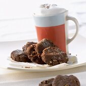 Chocolate biscuits with walnuts