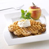 Apple waffles with nut cream
