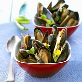 Two small bowls of mussels (Thailand)