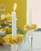 Candle with lemon peel candle ring