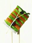 Oshi-sushi with asparagus & pepper, garnished with fish roe