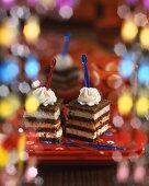 Three pumpernickel towers as party snacks