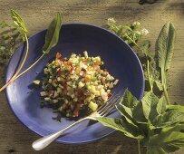 Vegetable salad with fresh wild herbs