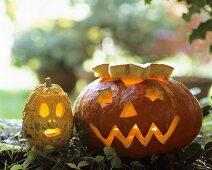 A pair of Halloween pumpkins