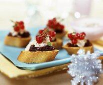 Pecorino and cranberry snacks