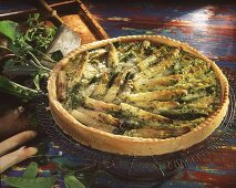 Whole asparagus quiche with mangetouts and herbs