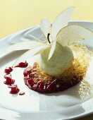 Green apple sorbet with apple slices on Cassis apples