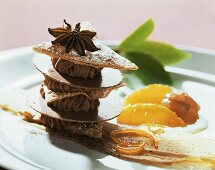 Spicy puff pastry slice with gianduja mousse & spiced oranges