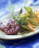 Poached beef fillet with polenta, leeks & parsley