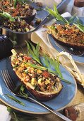 Aubergines with mince and tomato stuffing and tarragon