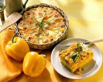 Potato and mango gratin and pepper and sweetcorn bake