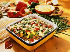 Autumnal mince and vegetable gratin (a piece spooned out)