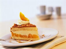 Piece of apricot and hazelnut gateau with cream