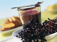 Apple and elderberry jelly in jar