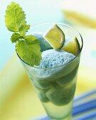 Sorbet with Blue Curacao, limes and lemon balm