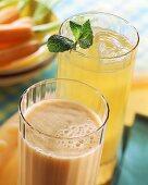 Pear & citrus schorle & banana & carrot shake