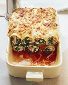 Cannelloni with spinach filling in tomato sauce