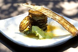 Aubergine slices layered with caviare mousse