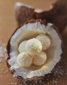 Coconut chocolates with grated coconut in half a coconut