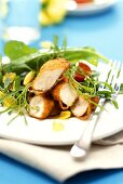 Wild herb salad & chicken breast in zwieback (rusk) panade
