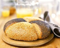 Round sesame and poppy seed loaf
